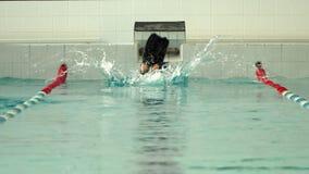 De atleet duikt in de pool stock videobeelden