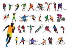 De atleet van silhouetten Stock Foto