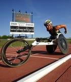 De Atleet Woman van het rolstoelspoor Stock Foto
