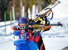 De atleten concurreert in de Regionale Kop van IBU in Sotchi Stock Afbeelding