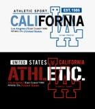 De atletiek van typografielos angeles Californië, t-shirt grafische vector stock illustratie