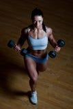 De atletische trainer toont voorbeelden van oefeningen Royalty-vrije Stock Afbeelding