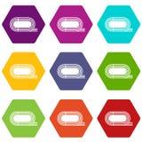 De atletische vastgestelde kleur van het stadionpictogram hexahedron Stock Afbeeldingen