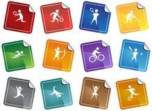 De atletische Vierkante Knopen van de Sticker Stock Foto's