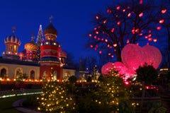 De atmosfeer van Kerstmis in Tivoli Royalty-vrije Stock Foto