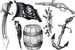 De attributen van de piraatreeks Stock Foto's