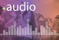 De audio Digitale Equalisermuziek stemt Correcte Golf Grafisch Concept stock foto