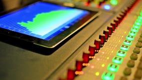 De audiomixer van de muziekstudio.