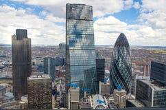 De Augurk die van Londen Modern bureau bouwen blokkeert Stad van de bedrijfs en het bank aria van Londen, Royalty-vrije Stock Afbeeldingen