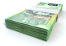 De Australische Bundels van Honderd Dollarsnota's Stock Foto