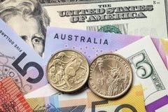 De Australische en Amerikaanse Achtergrond van de Geldmunt Royalty-vrije Stock Afbeelding