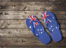 De Australische Houten Achtergrond van de Leren riemen van de Vlag Stock Fotografie