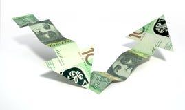 De Australische Pijlen van de de Terugwinningstendens van het Dollarbankbiljet Royalty-vrije Stock Afbeelding