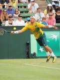 De Australische Tennisspeler Llayton Hewitt tijdens Davis Cup verdubbelt Brian Brothers van de V.S. Stock Foto's