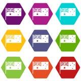 De Australische vastgestelde kleur van het vlagpictogram hexahedron Stock Afbeelding