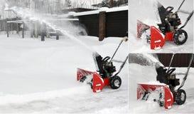 De auto bij sneeuw het schoonmaken Stock Afbeeldingen