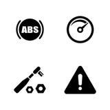 De auto dienst Werktuigkundige die binnen de auto werkt Eenvoudige Verwante Vectorpictogrammen royalty-vrije illustratie
