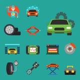 De auto de dienstsymbolen van de autoreparatie isoleerden van het het onderhoudsvervoer van de winkelarbeider de automobiel mecha royalty-vrije illustratie
