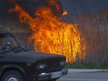 De auto drijft langs de weg dichtbij de brand stock afbeeldingen