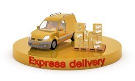 De auto en de dozen van de levering Stock Fotografie