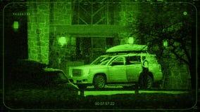 De Auto en de Mensen van kabeltelevisie bij Hotel stock videobeelden