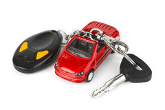 De auto en de sleutels van het stuk speelgoed Stock Afbeeldingen
