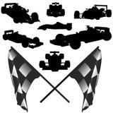 De auto en de vlagvector van de formule royalty-vrije illustratie