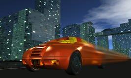De auto gaat snel op nachtstad royalty-vrije illustratie