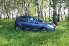 De auto & x22; Renault Sandero & x22; blauwe kleur Stock Foto