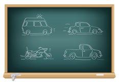 De auto's van de tekening door een krijt Stock Afbeeldingen