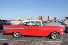 De auto toont 57 rode chevy Stock Foto