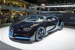 De auto van Bugatti Chiron 0-400-0 bij de Motorshow van IAA Frankfurt stock afbeeldingen