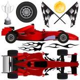 De auto van de formule en objecten vector royalty-vrije illustratie