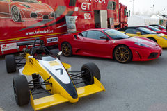 De auto van de huur op paddockBarcelona kring Royalty-vrije Stock Foto's