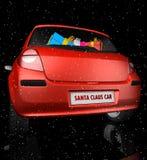 De auto van de Kerstman in sterrige hemel Royalty-vrije Stock Afbeelding