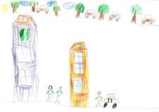 De auto van de kind` s tekening Royalty-vrije Stock Foto