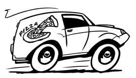 De auto van de pizzalevering Stock Afbeeldingen