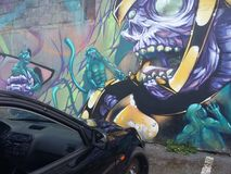 De auto van graffitisamourai squeletton Stock Afbeeldingen