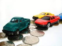 De auto van het stuk speelgoed op weg Royalty-vrije Stock Fotografie