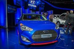 De auto van Hyundai Veloster op vertoning bij La Auto toont. Stock Foto's
