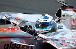 De Auto van McLaren Mercedes van Vodafone F1; Mika Hakkinen Stock Foto's