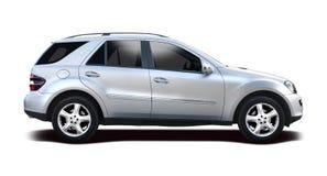 De auto van Mercedes SUV op wit wordt geïsoleerd dat Stock Foto