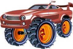 De auto van de monstersnelheid met grote wielen royalty-vrije illustratie
