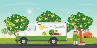 De auto van de vers fruitlevering met de landbouwers stock illustratie