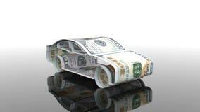 De auto wordt gecreeerd van geld, het concept de financiering van de autoindustrie, die aan het kopen van auto's, contant geldkos royalty-vrije illustratie