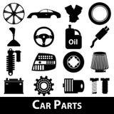 De autodelen slaan eenvoudige zwarte pictogrammen geplaatst eps10 op Stock Afbeelding