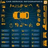 De autodienst, reparatie Infographics Stock Afbeelding