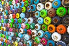 De automaat van de nevelverf in verschillende kleuren Stock Foto's