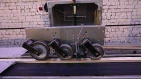 De automatische bepaling van de lengte van een houten straal, moderne transportband, automatiseerde lijn, moderne meubilair produ stock videobeelden