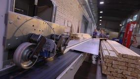 De automatische bepaling van de lengte van een houten straal, moderne transportband, automatiseerde lijn, moderne meubilair produ stock footage